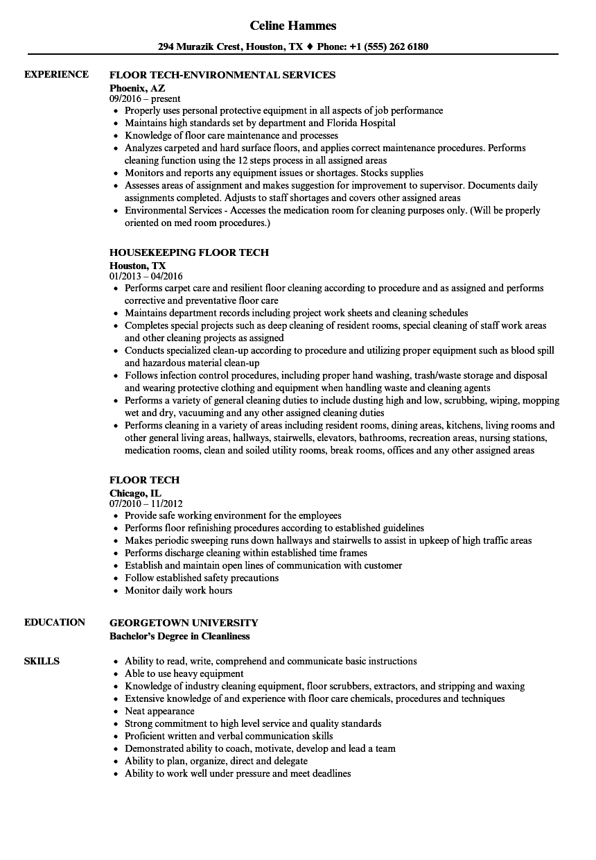 Download Floor Tech Resume Sample As Image File