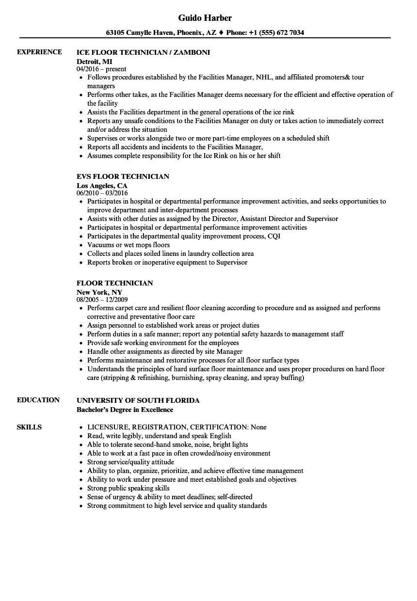 floor technician resume samples velvet jobs