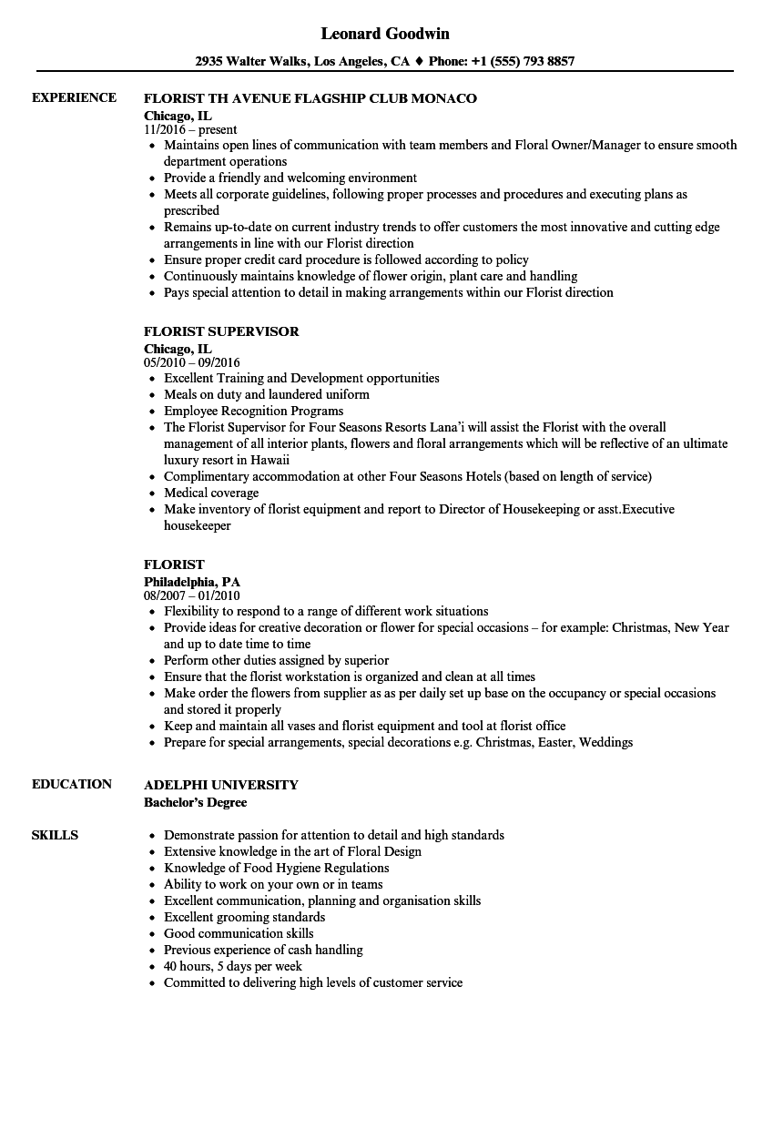 florist resume samples velvet jobs