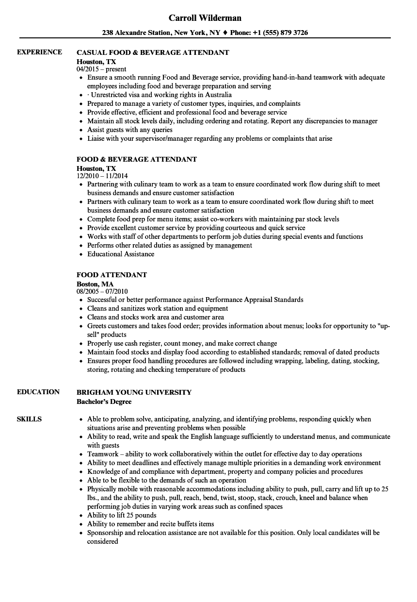 food attendant resume samples