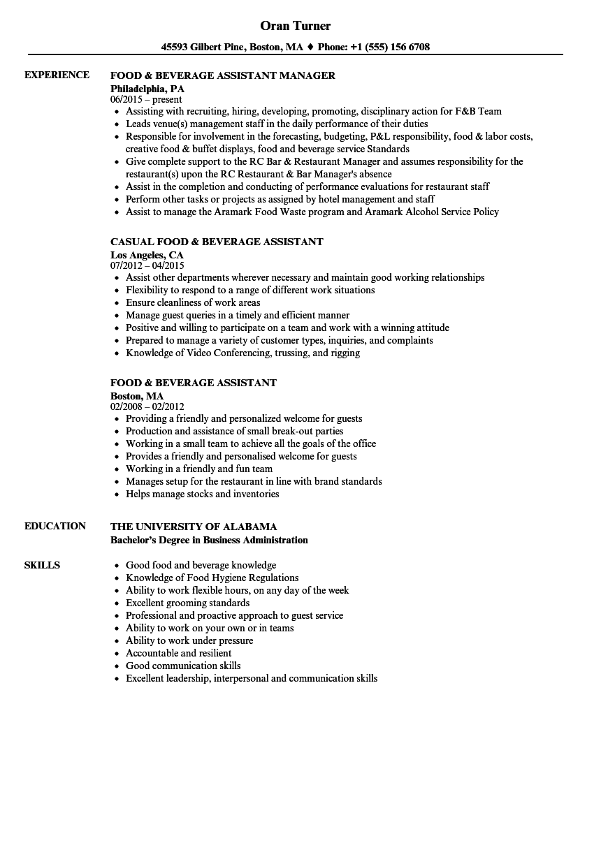food  u0026 beverage assistant resume samples