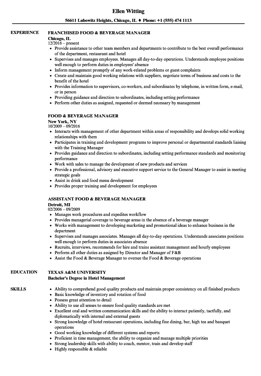 food beverage manager resume samples velvet jobs