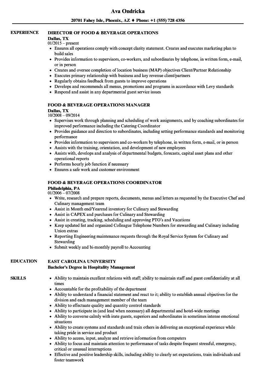 food  u0026 beverage operations resume samples