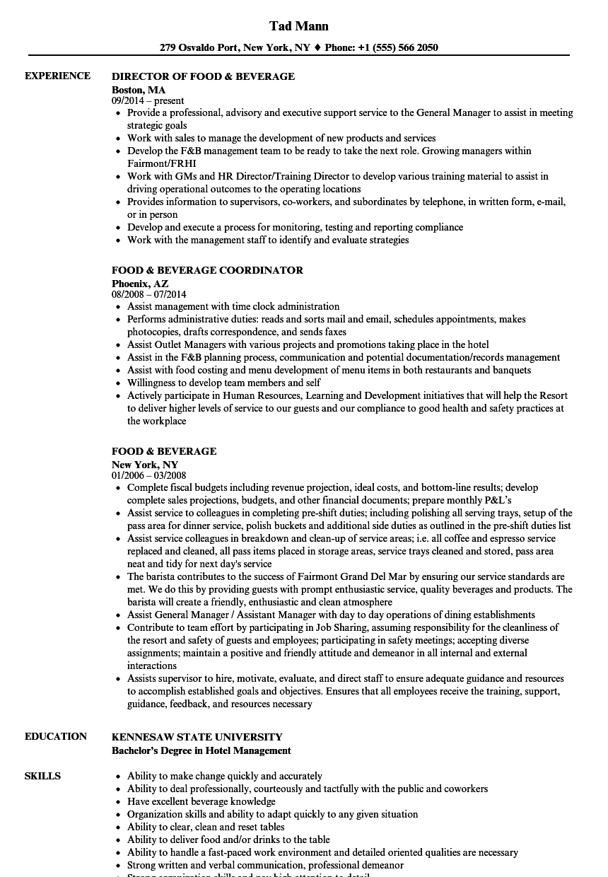 food  u0026 beverage resume samples