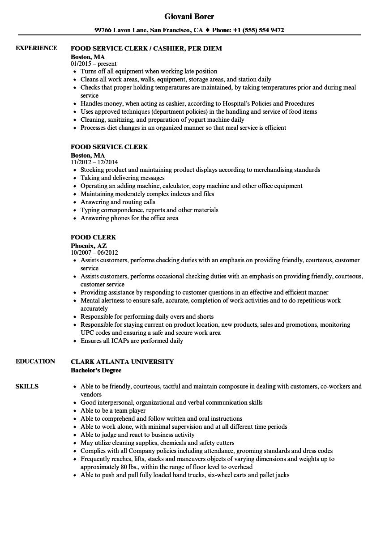 Food Clerk Resume Samples Velvet Jobs Food Clerk Resume Sample Food Clerk  Resume Sample General Merchandise  Clerk Resume Sample