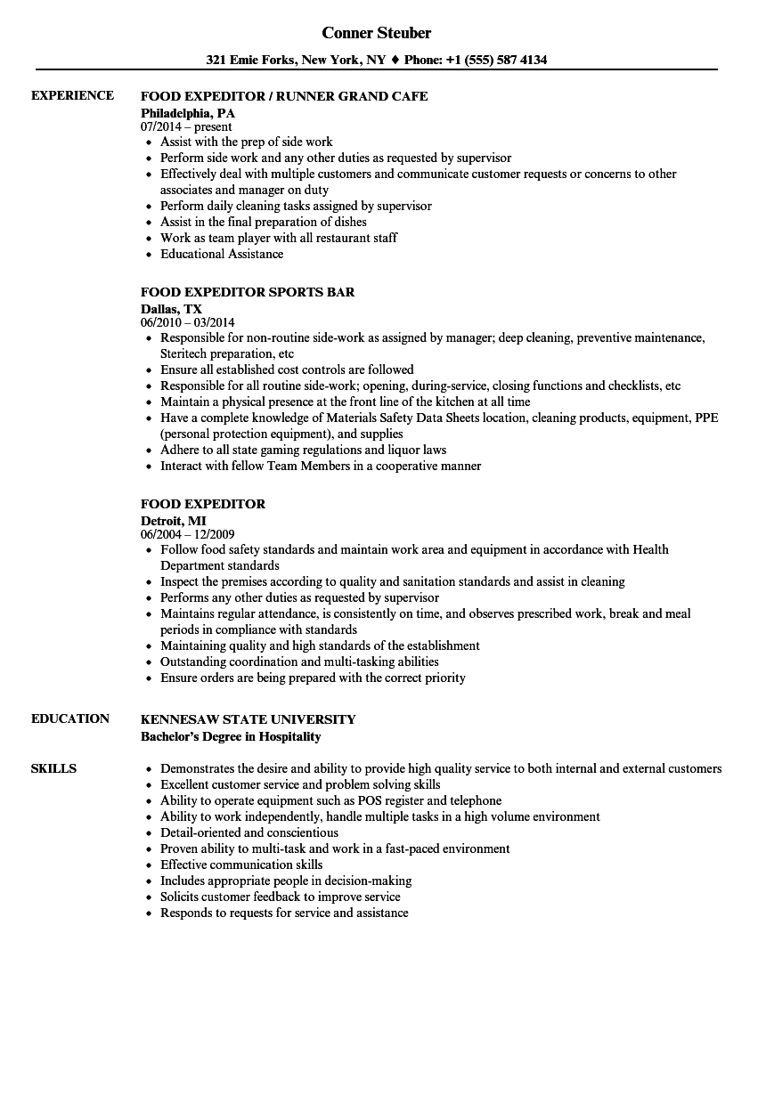 food expeditor resume samples