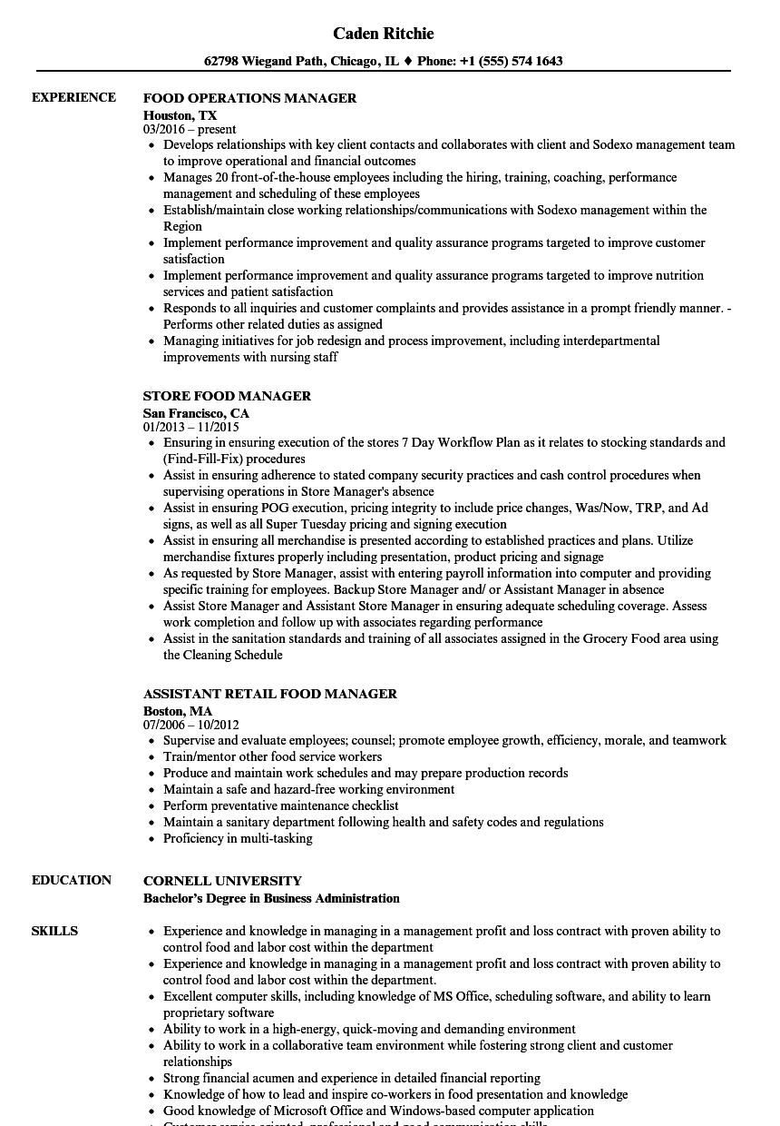 food manager resume samples