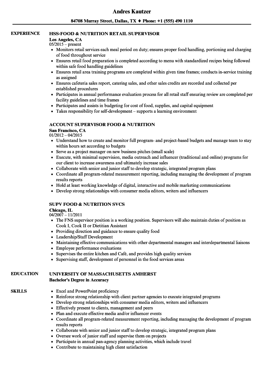 Download Food Nutrition Resume Sample As Image File