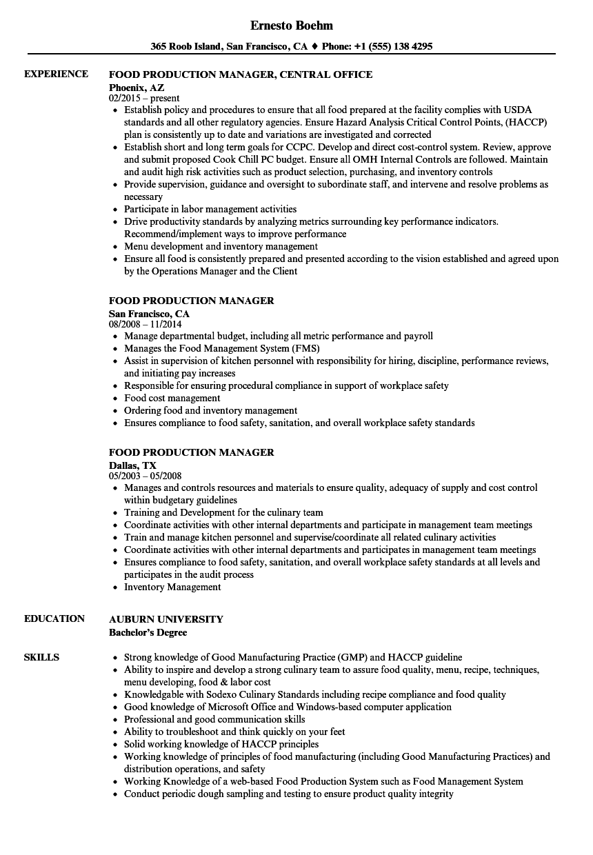 food production manager resume samples