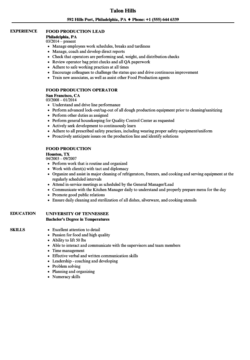 Food Production Resume Samples Velvet Jobs