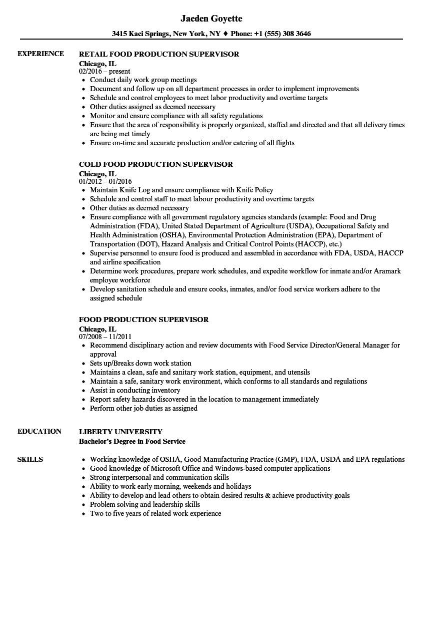 Food Production Supervisor Resume Samples | Velvet Jobs