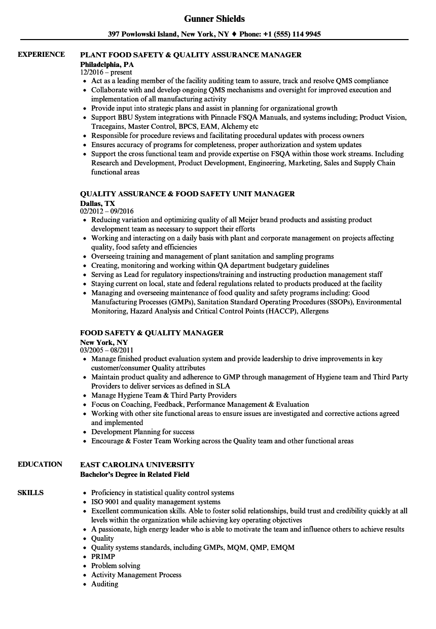 Food Quality Manager Resume Samples Velvet Jobs