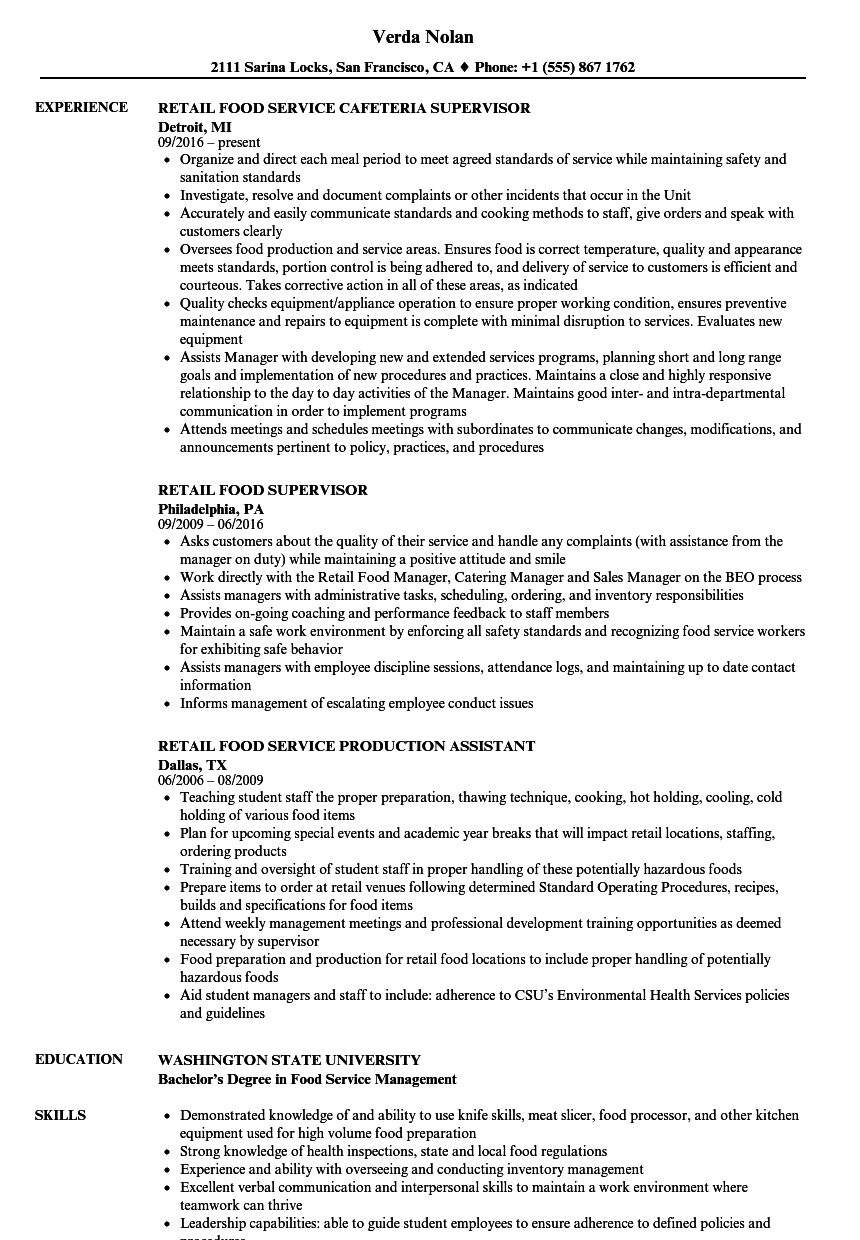 Food Retail Resume Samples | Velvet Jobs