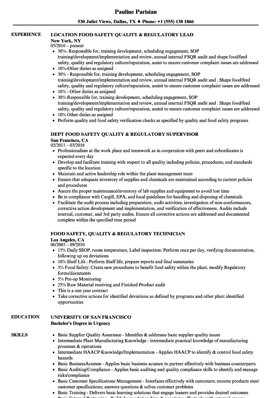 food safety quality regulatory resume samples velvet jobs
