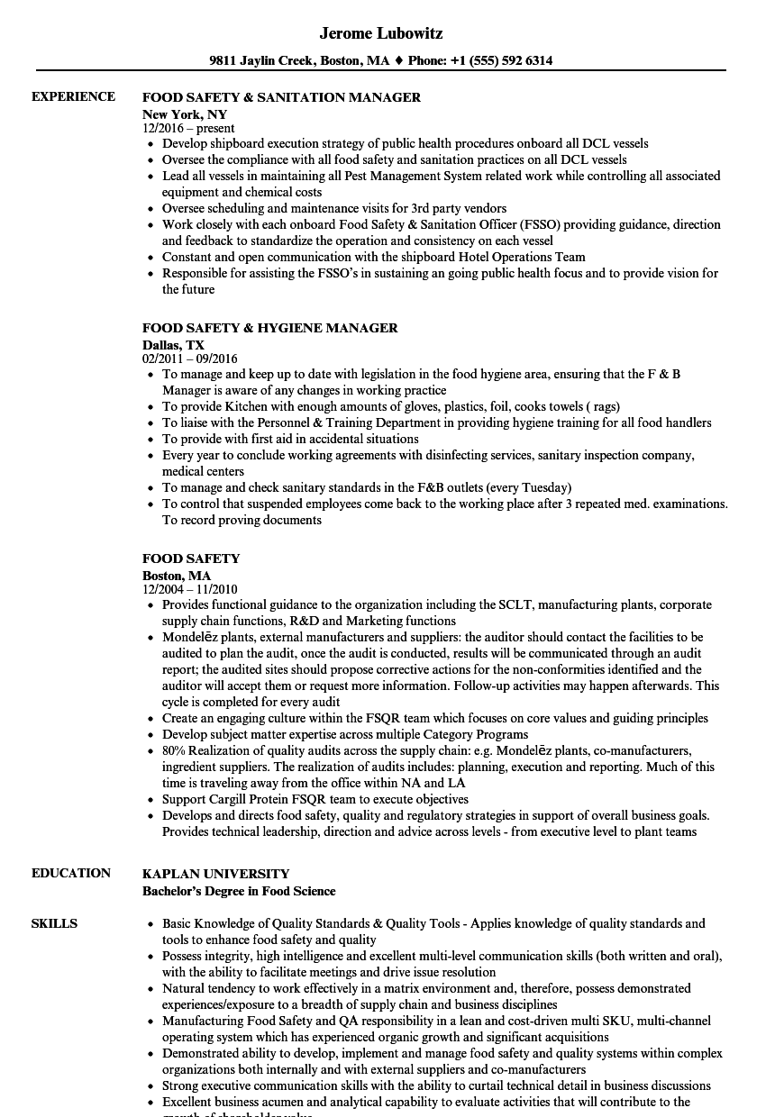 food safety resume samples
