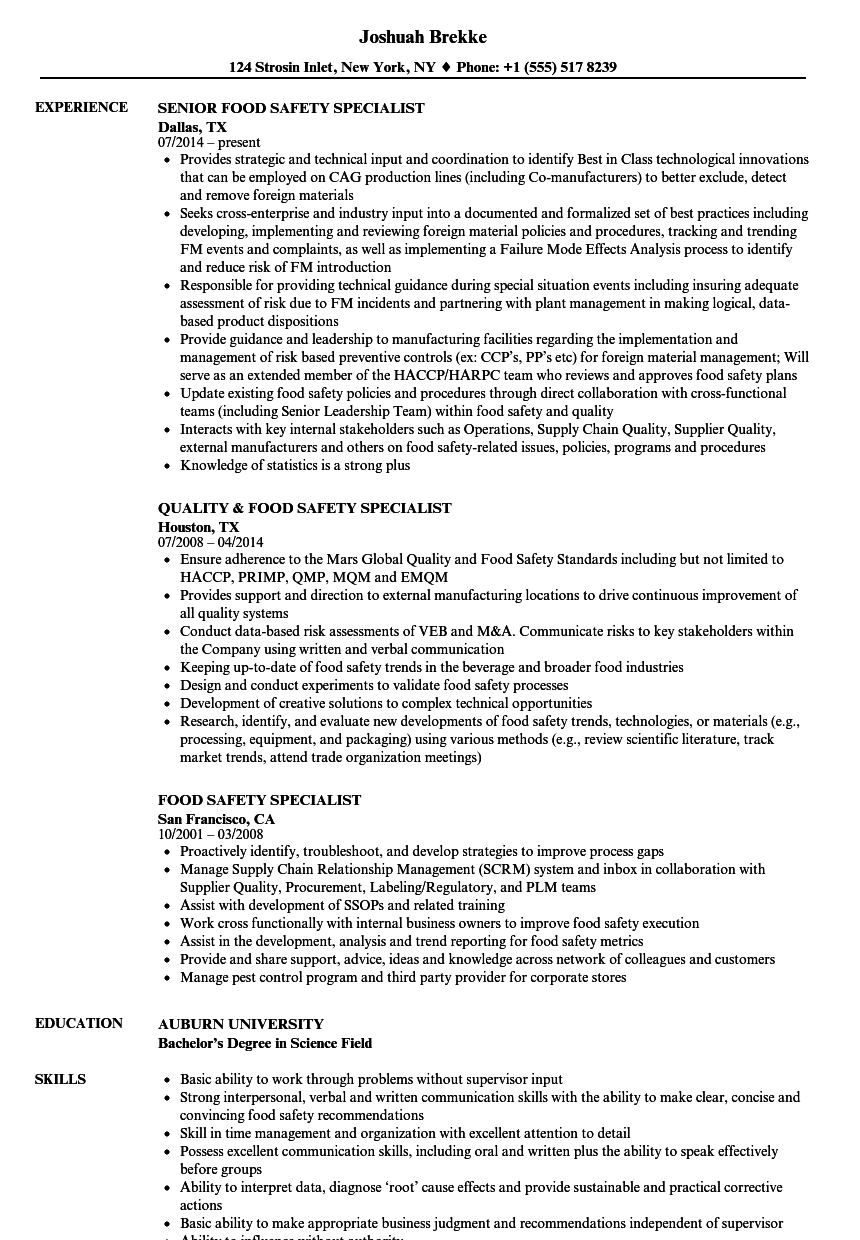 food safety specialist resume samples