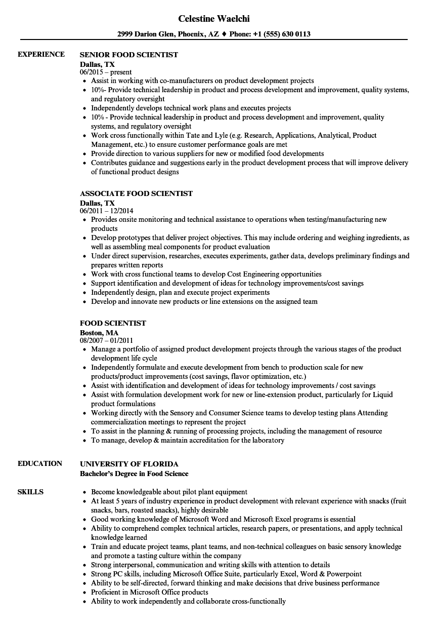 food scientist resume samples