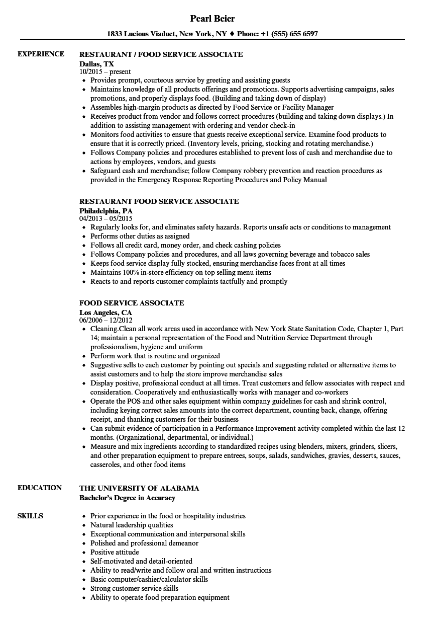 food service associate resume samples