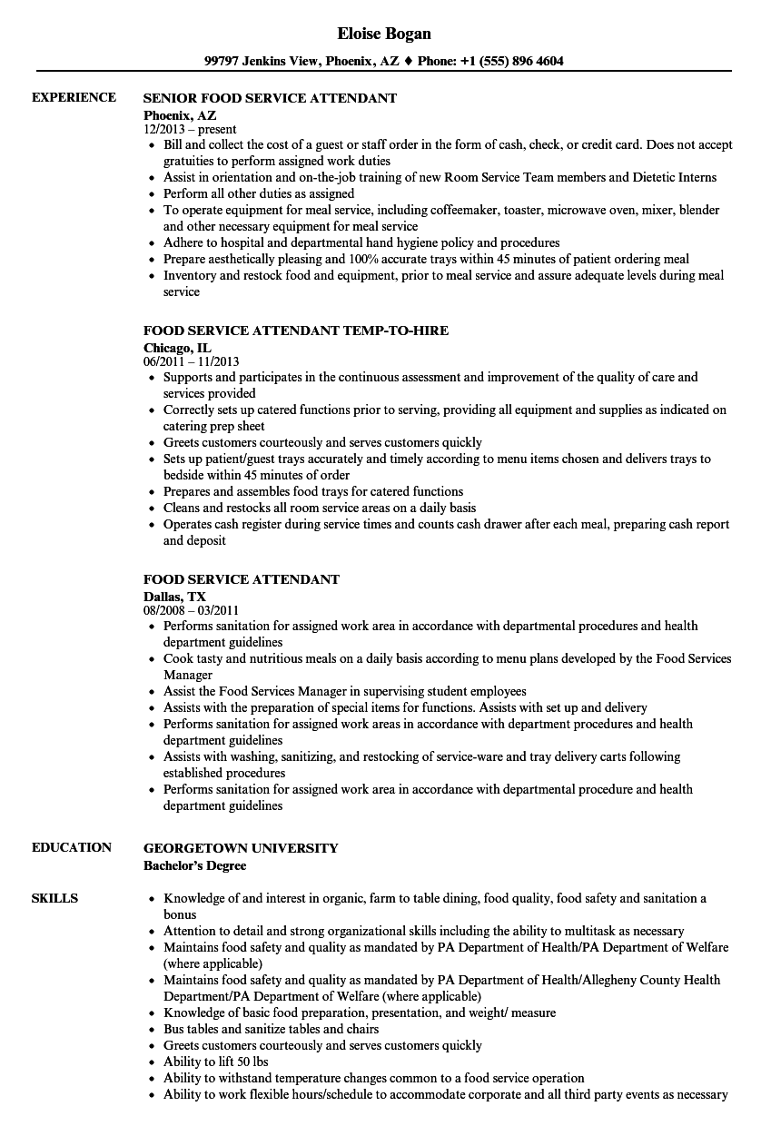 food service attendant resume samples