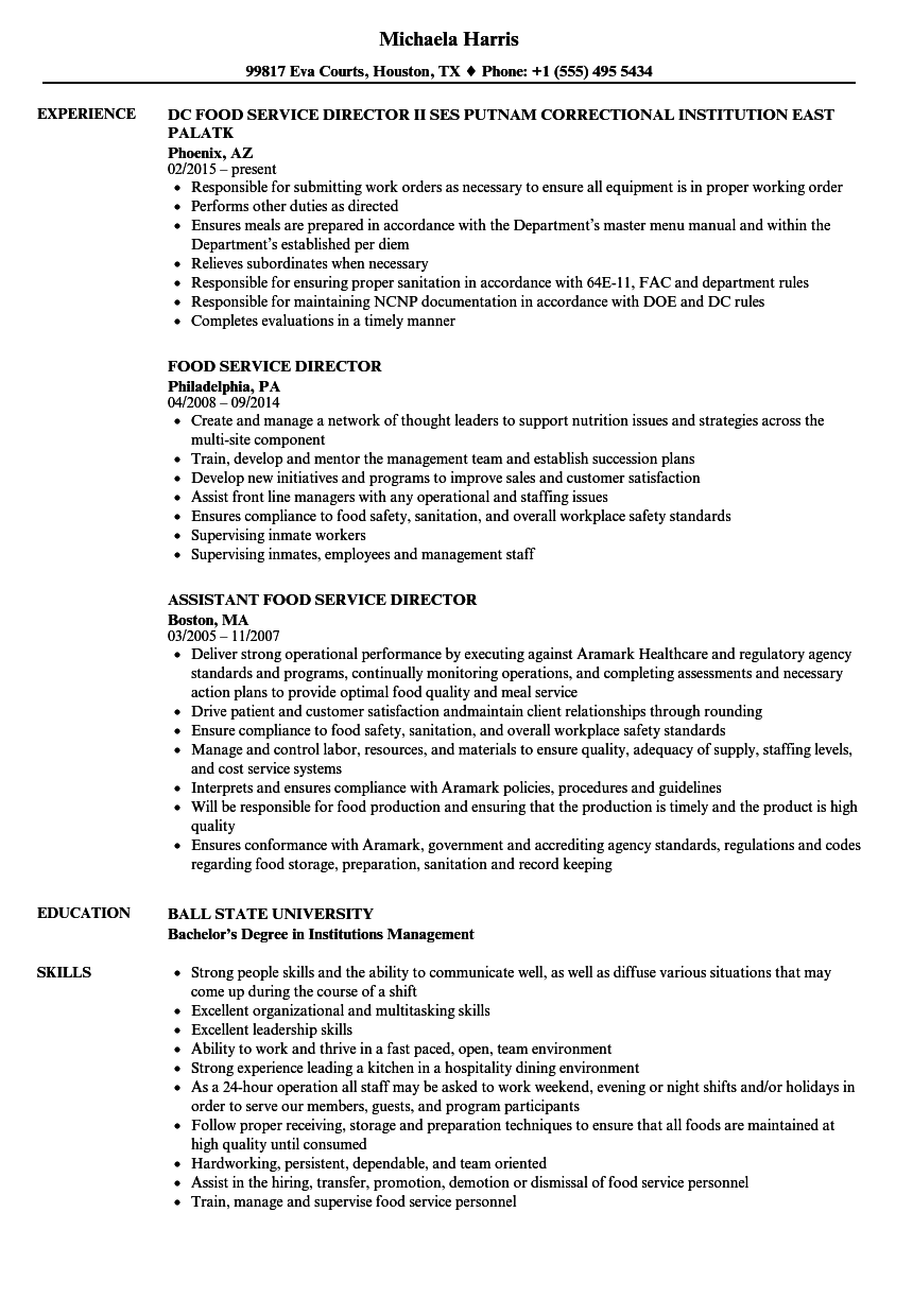 Food Service Director Resume Samples | Velvet Jobs