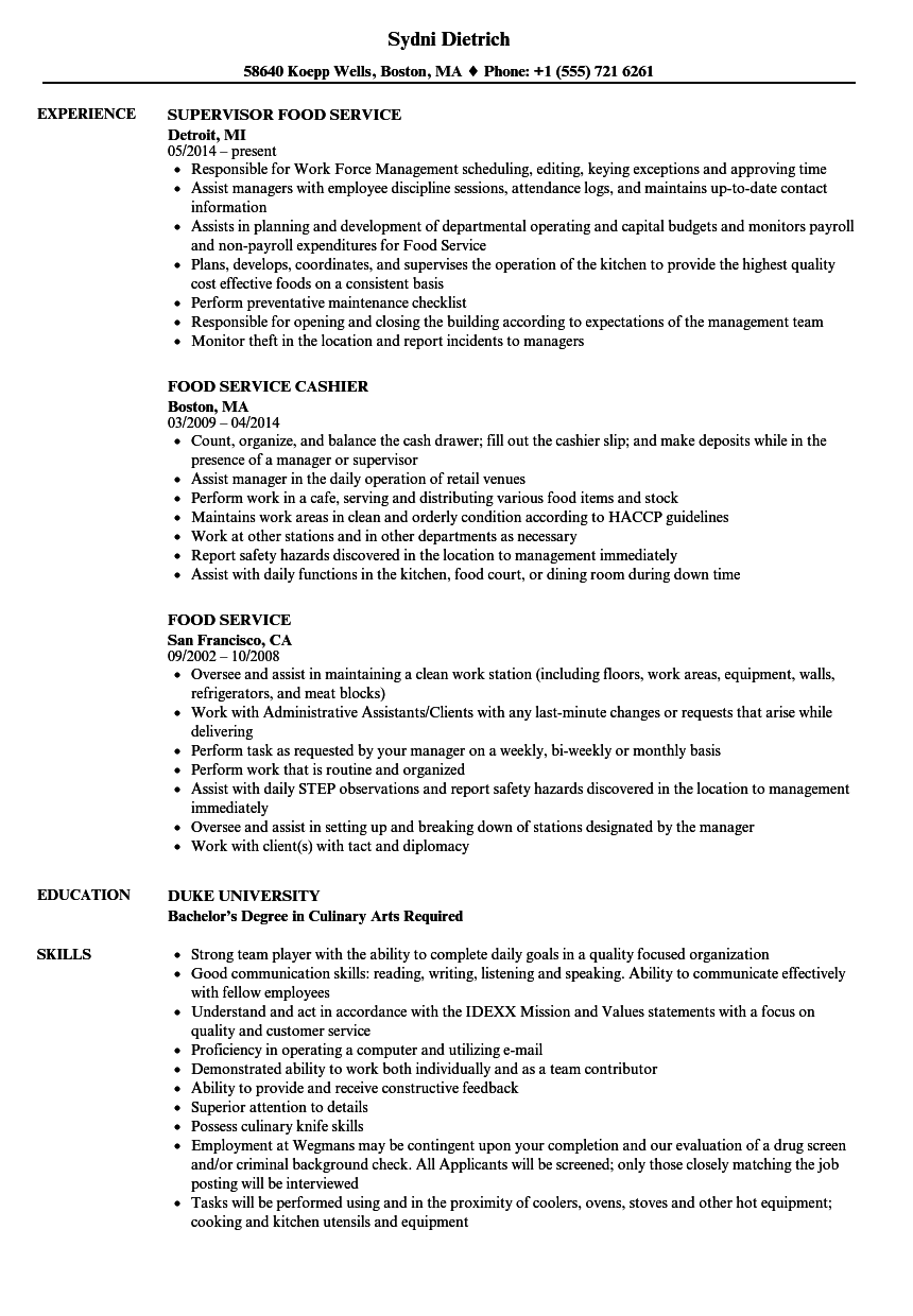 Velvet Jobs  Sample Food Service Resume
