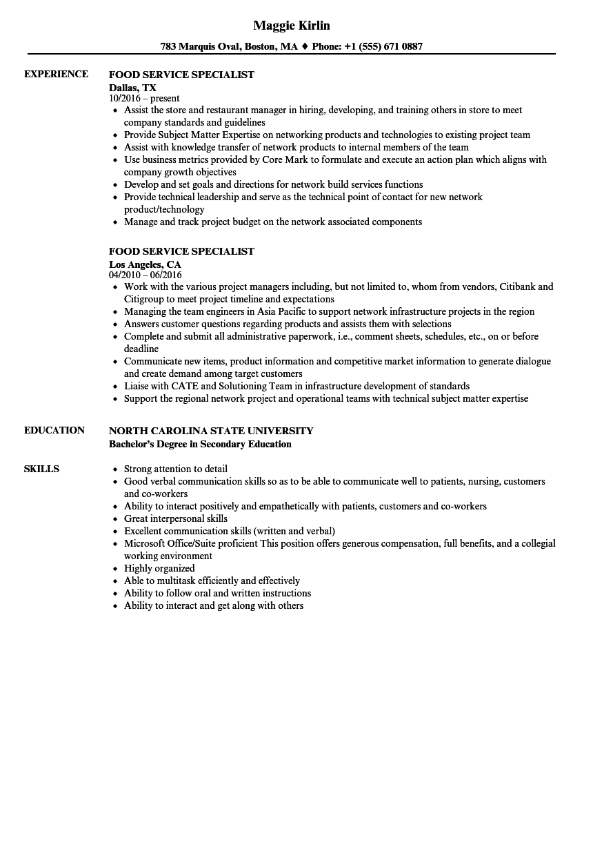 Food Service Specialist Resume Samples Velvet Jobs