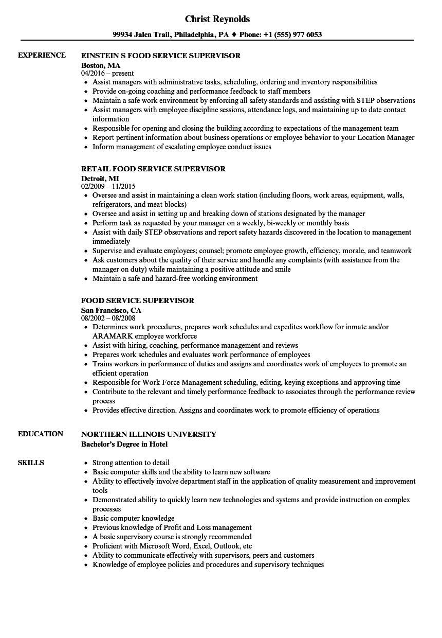 Food Service Supervisor Resume Samples | Velvet Jobs
