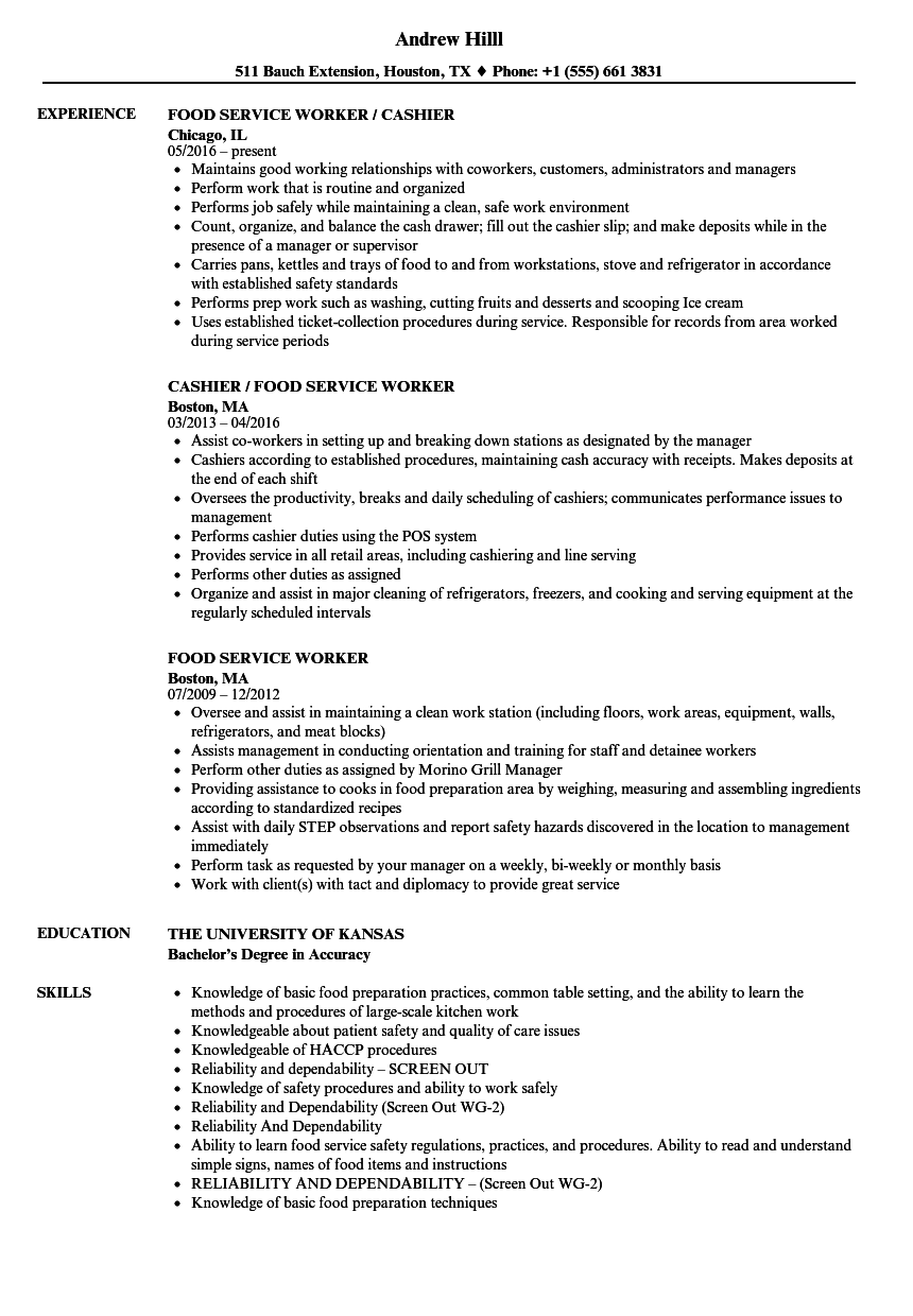Food Service Worker Resume Samples | Velvet Jobs