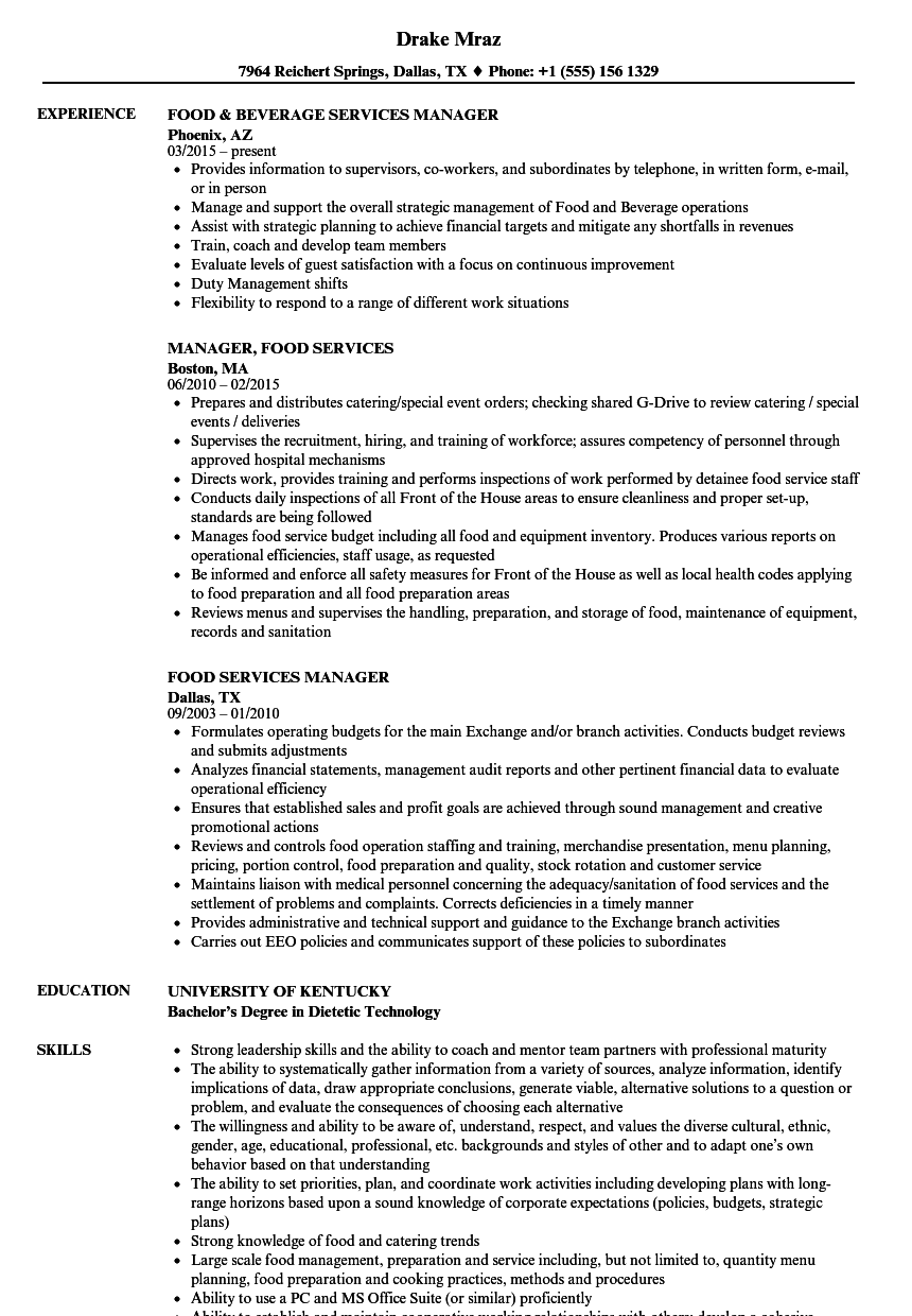 food services manager resume samples