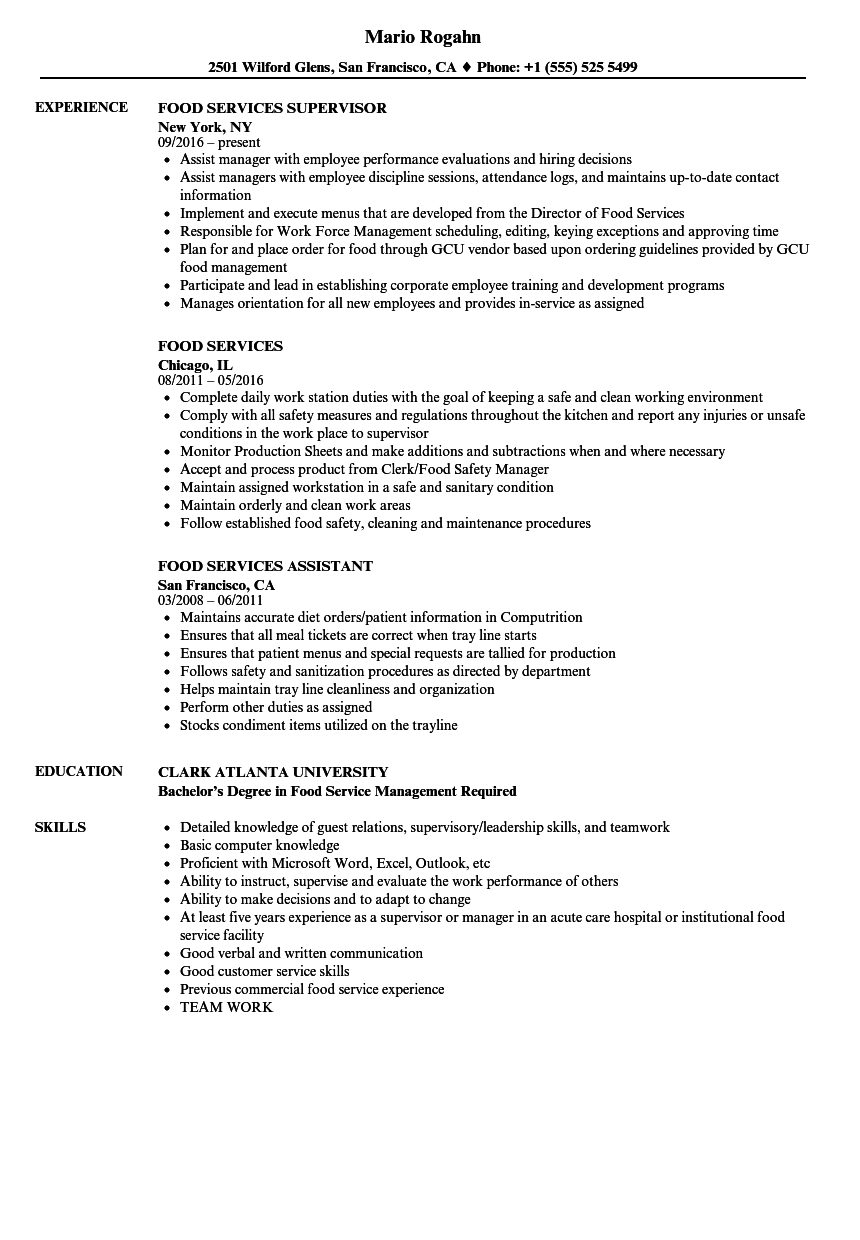 resume for food service job