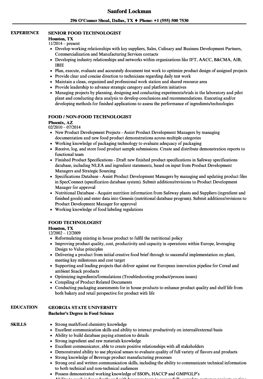 food technologist resume samples