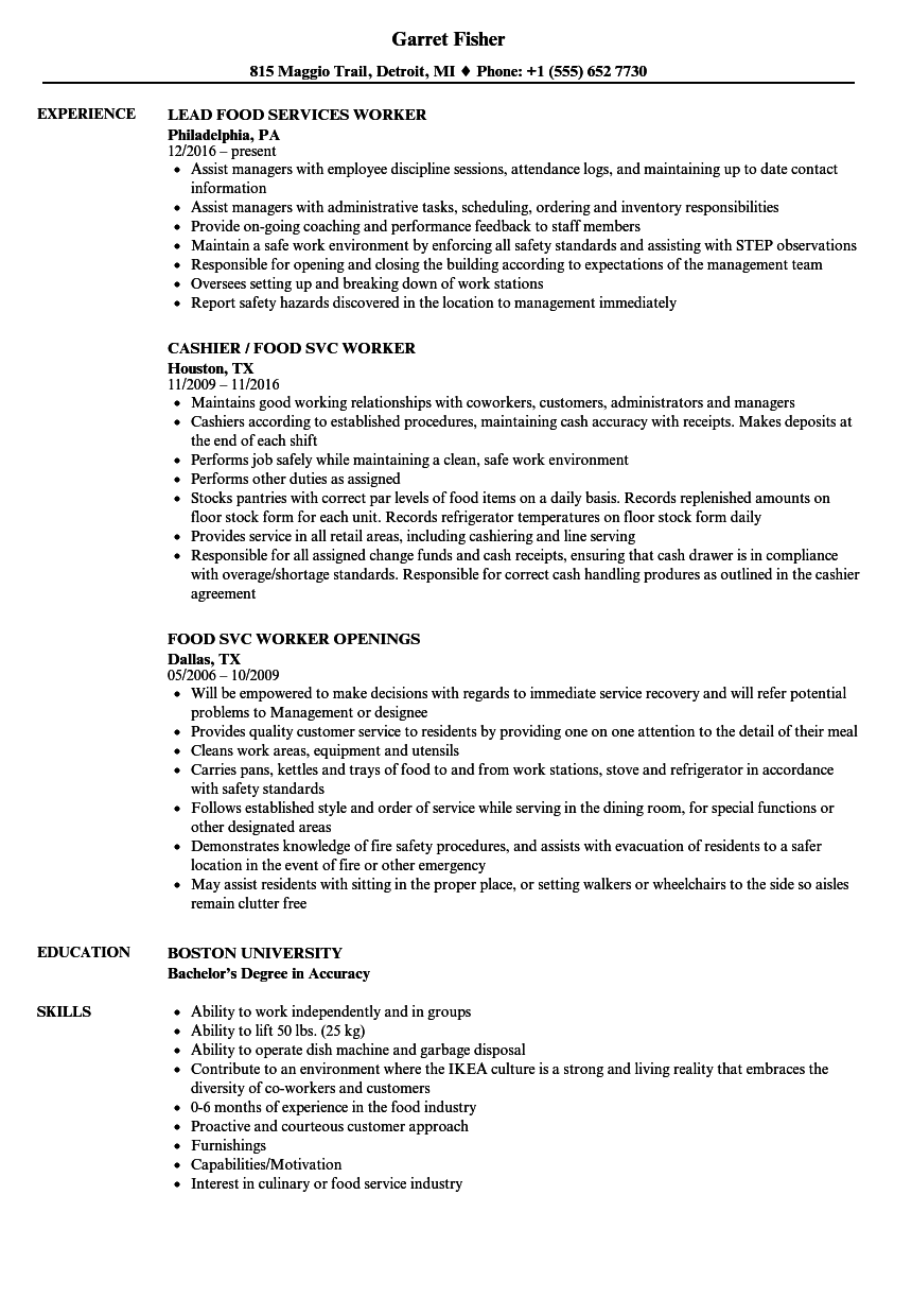 Download Food Worker Resume Sample As Image File