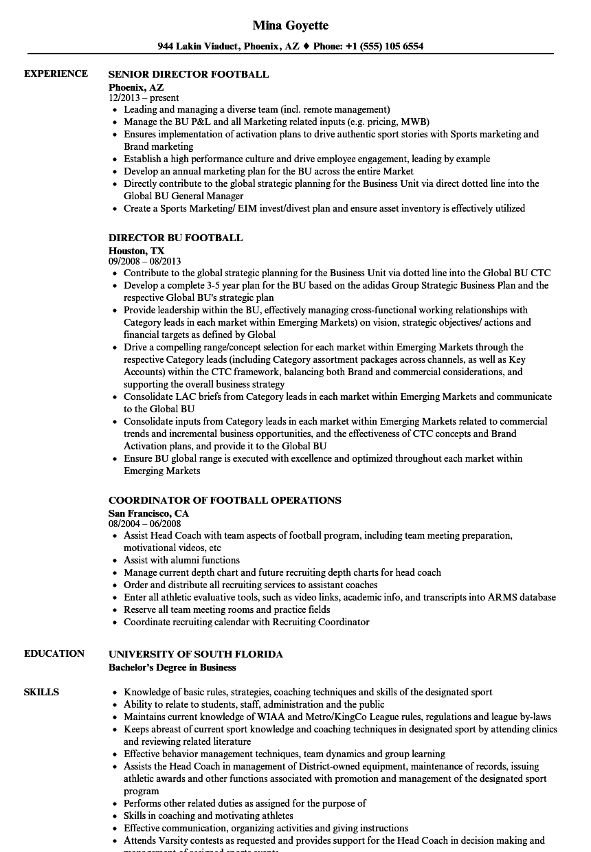 football resume samples