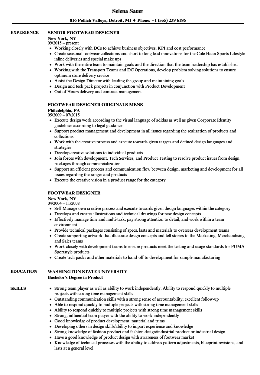 Footwear Designer Resume Samples Velvet Jobs