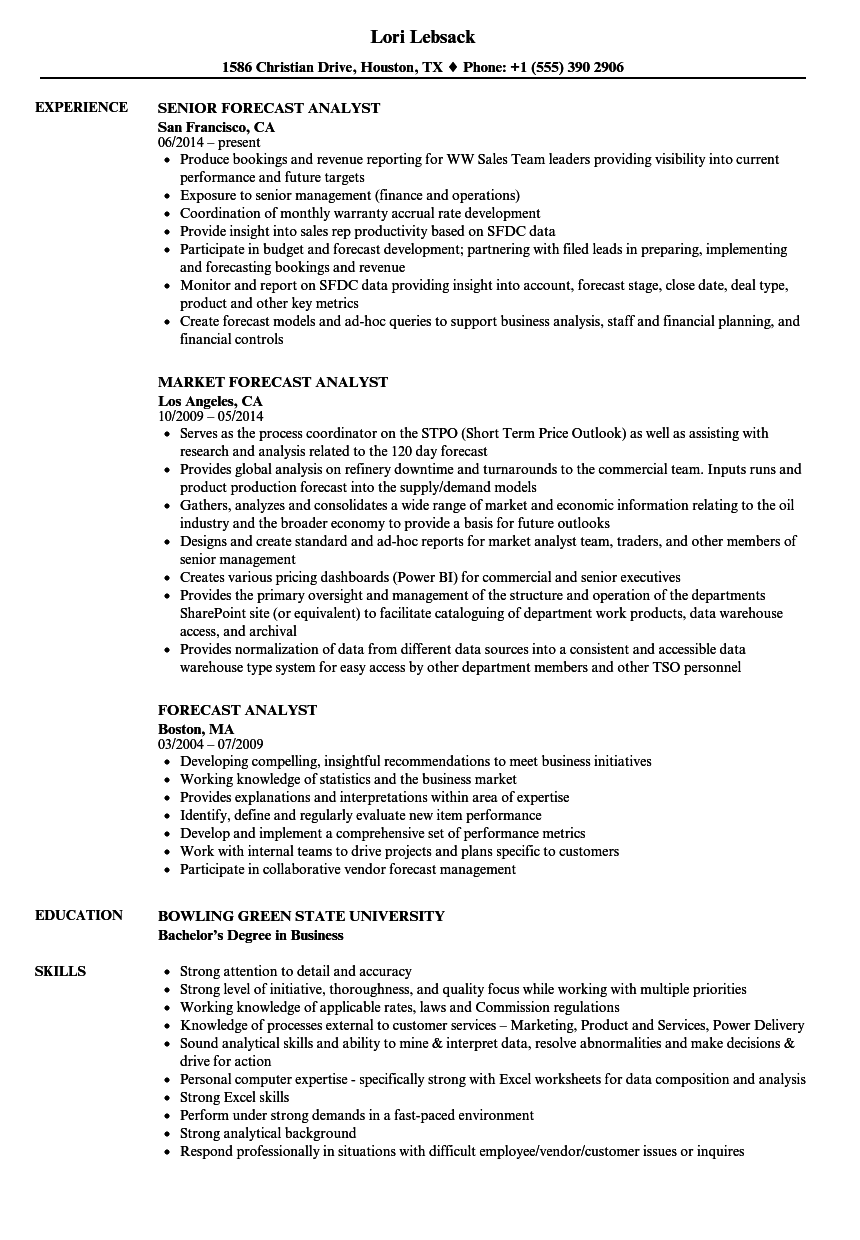 Forecast Analyst Resume Samples | Velvet Jobs
