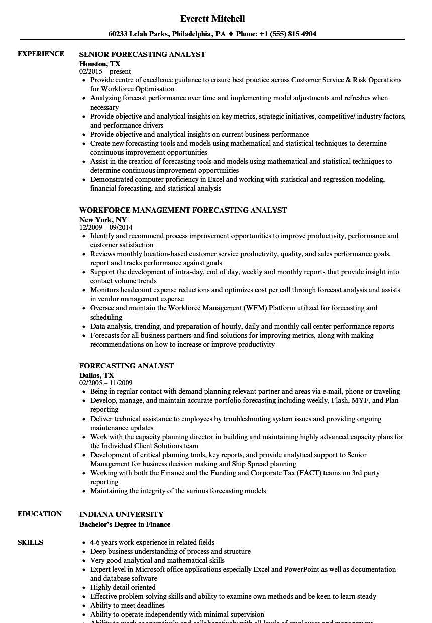 Forecasting Analyst Resume Samples | Velvet Jobs