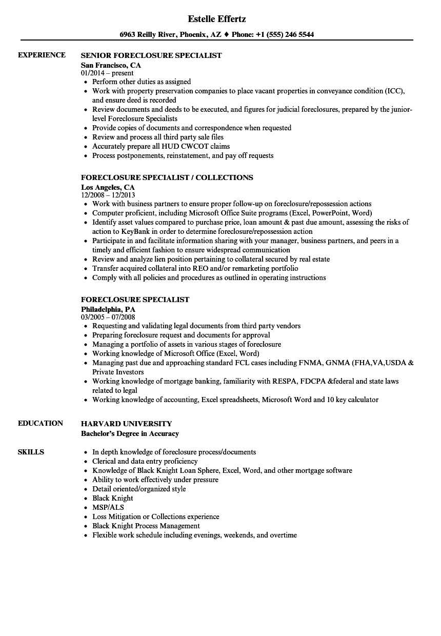 Download Foreclosure Specialist Resume Sample As Image File