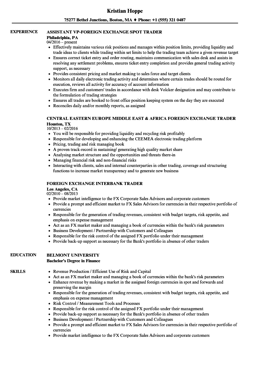 foreign exchange trader resume samples