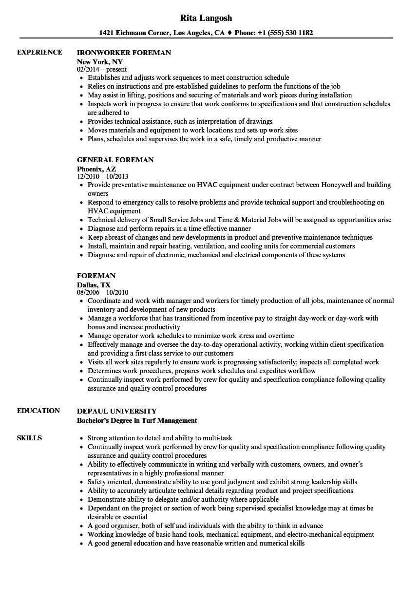 Foreman Resume Samples Velvet Jobs