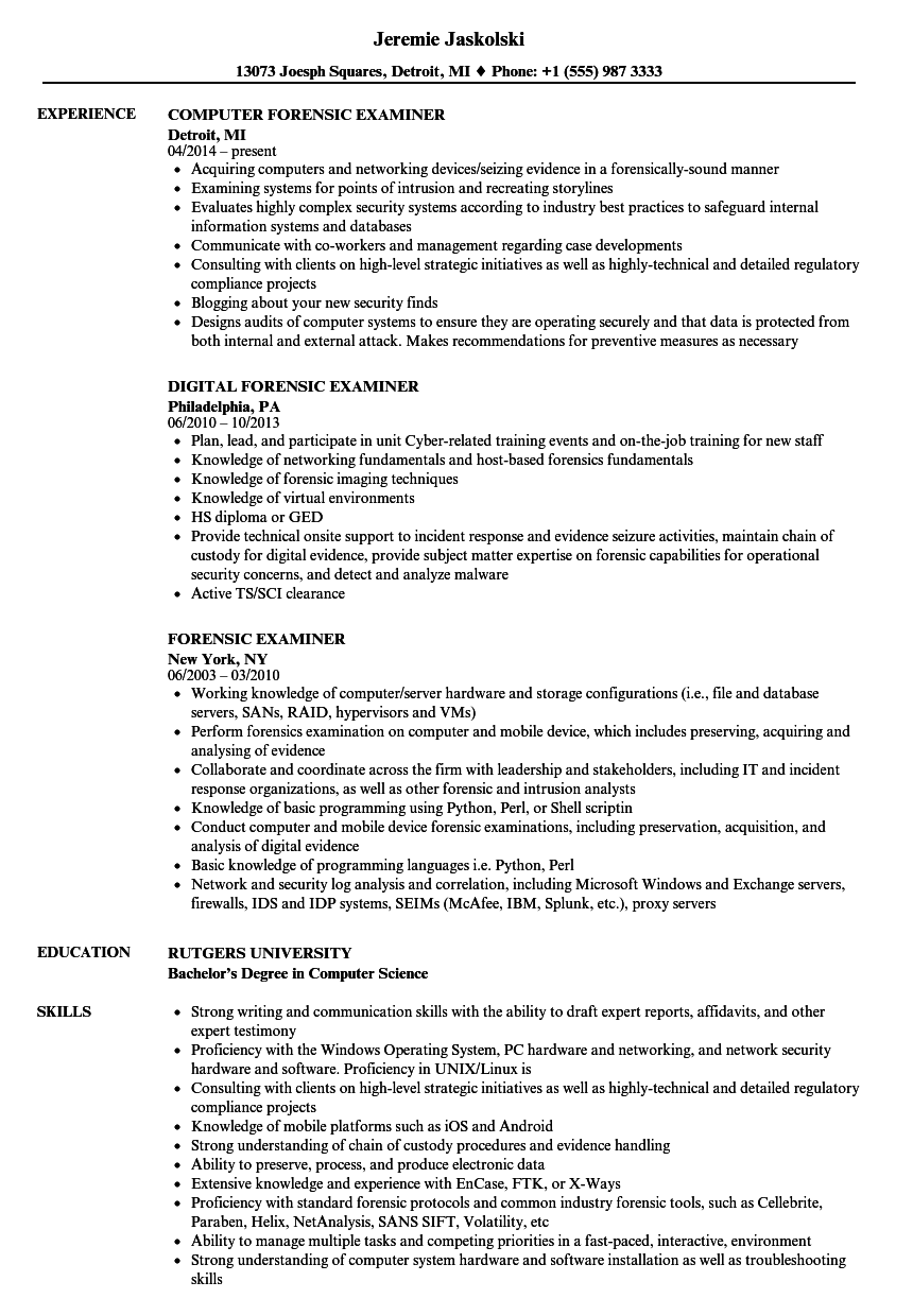 Forensic Examiner Resume Samples Velvet Jobs