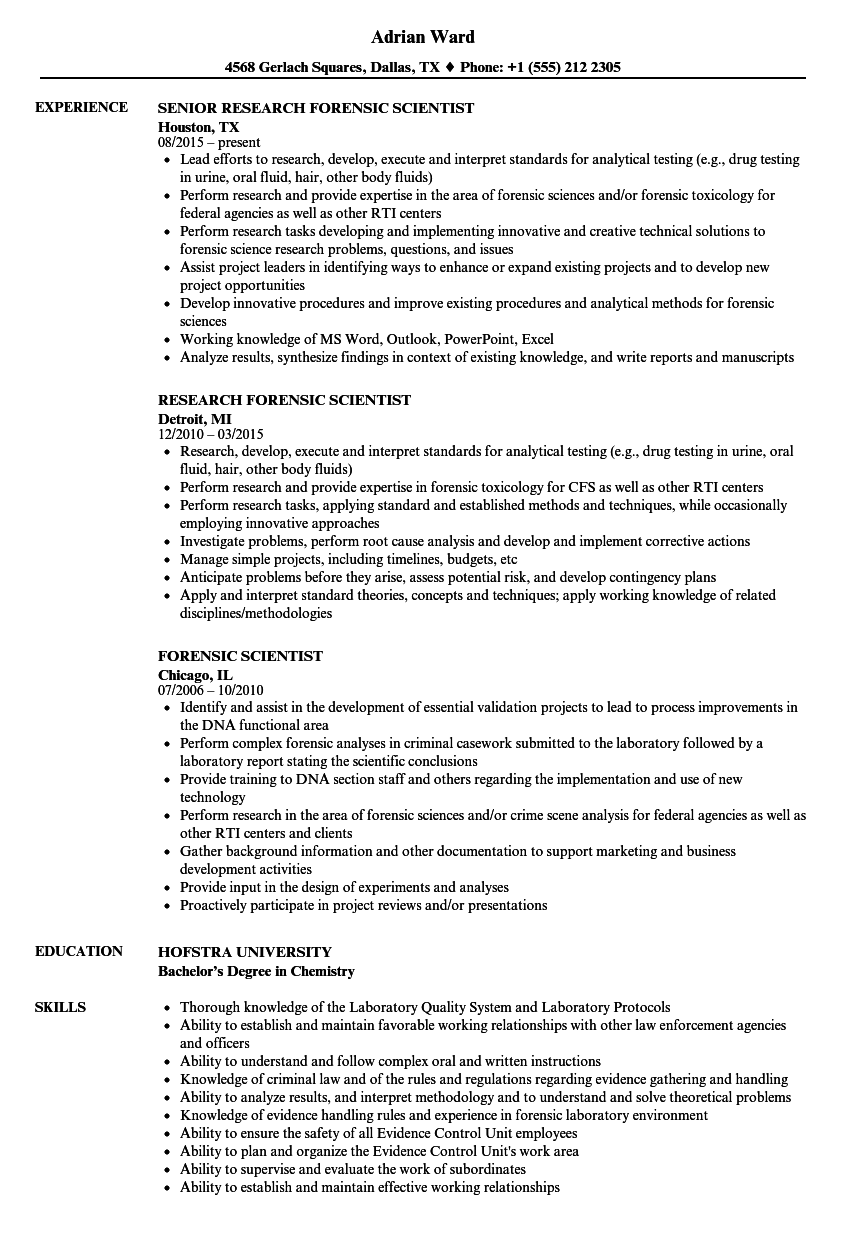 Forensic Scientist Resume Samples | Velvet Jobs