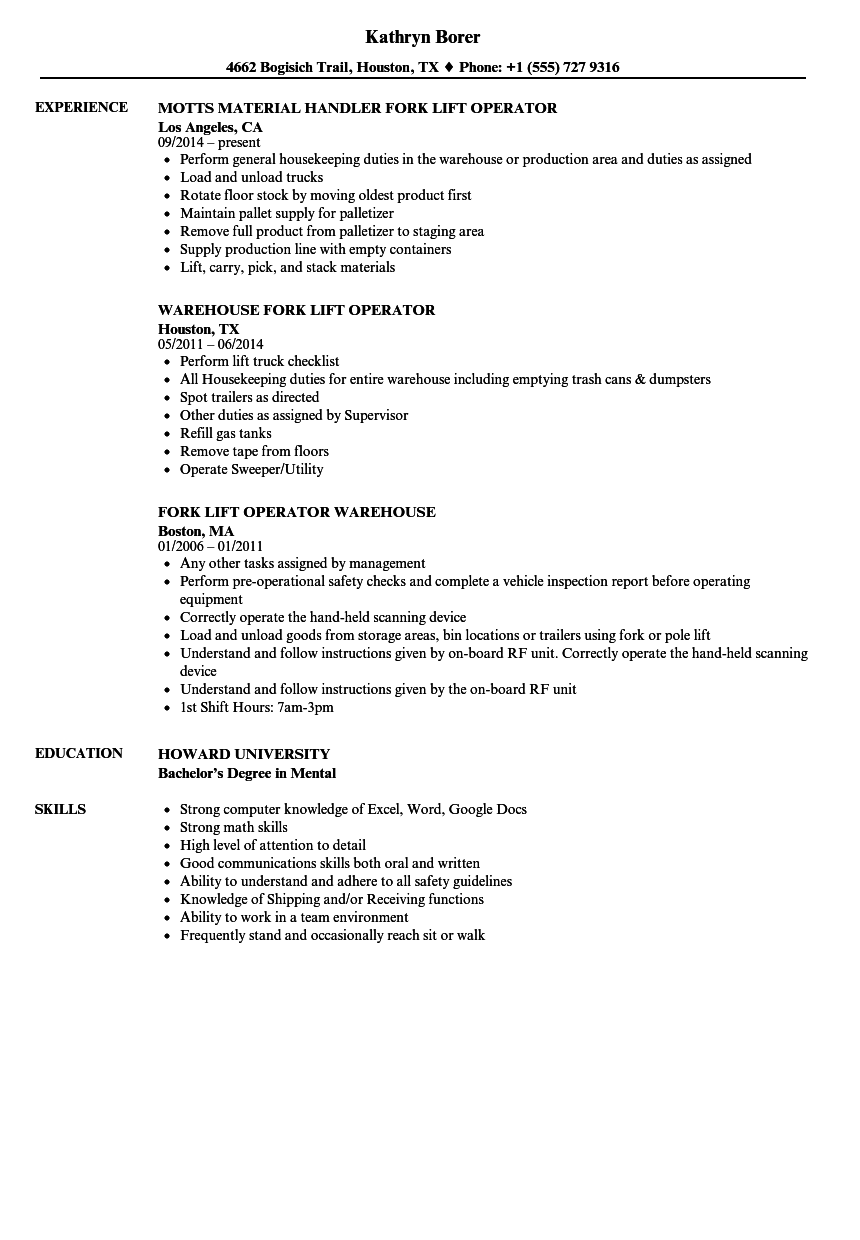 view 29 warehouse forklift driver resume  wiring