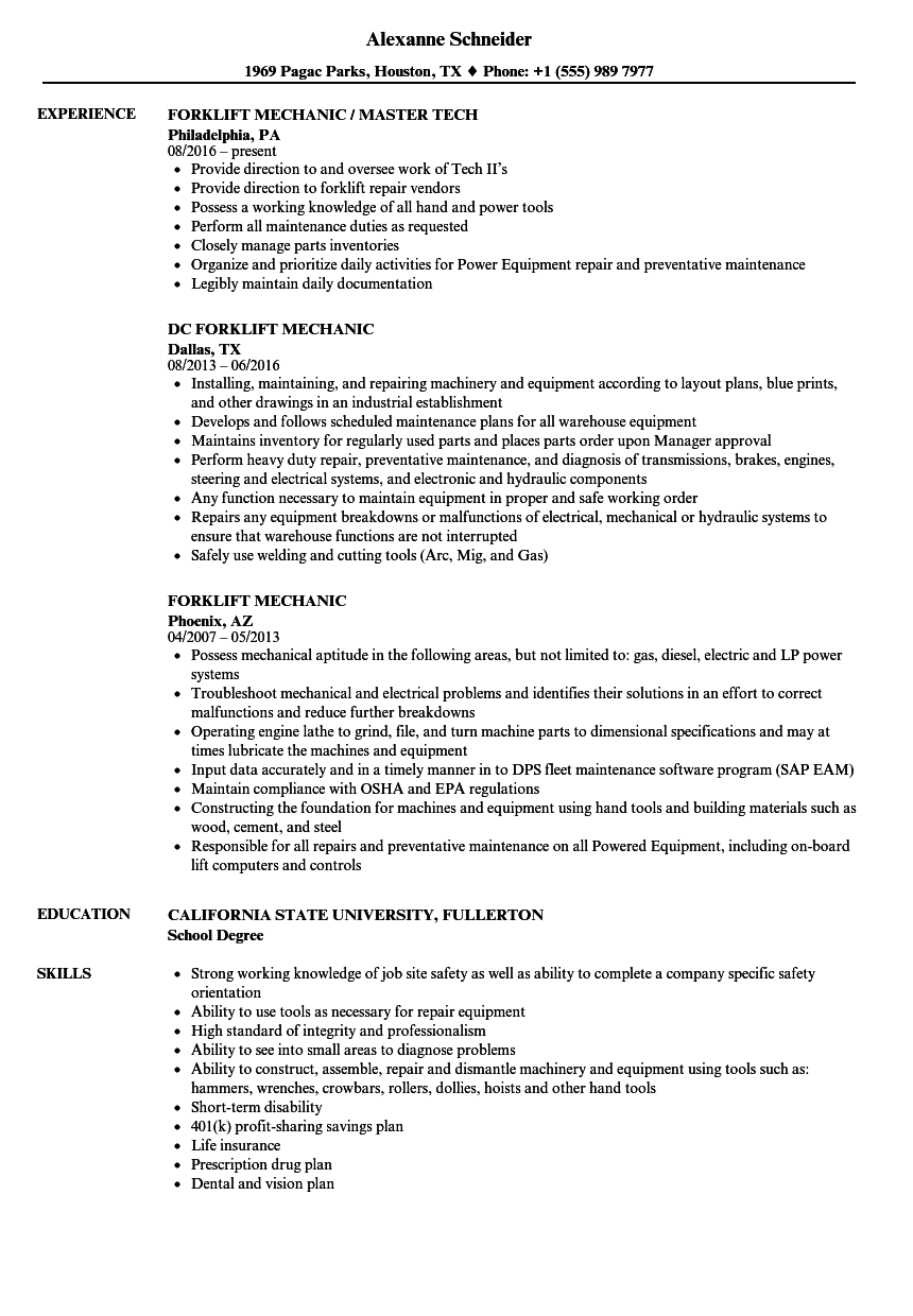 Forklift Mechanic Resume Samples | Velvet Jobs