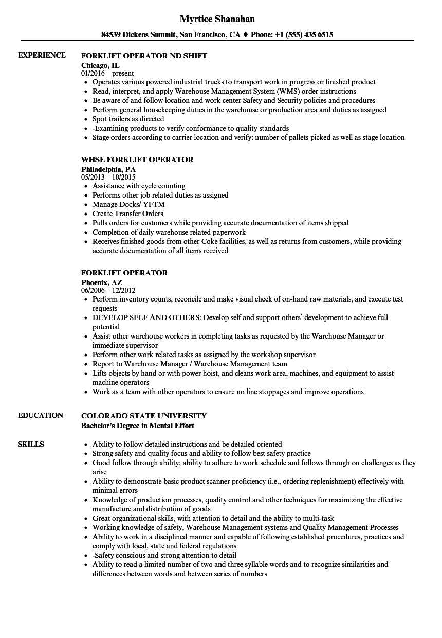 Velvet Jobs  Sample Resume For Forklift Operator