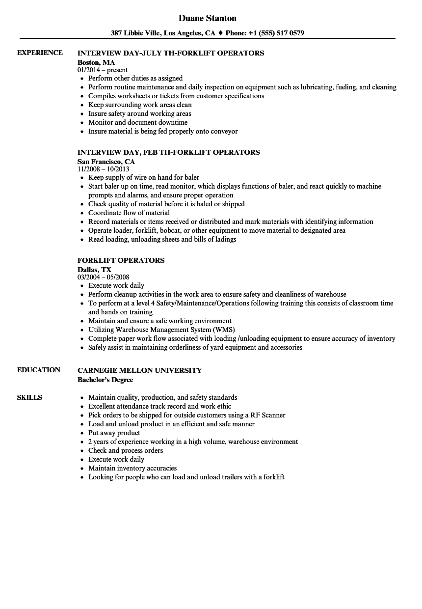 resume How To Put Forklift Certification On Resume forklift operators resume samples velvet jobs download sample as image file