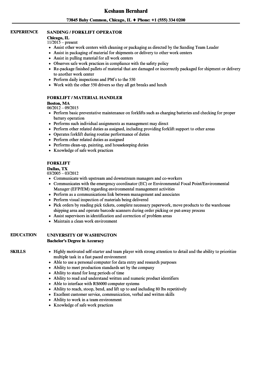 download forklift resume sample as image file - Duties Of A Forklift Operator