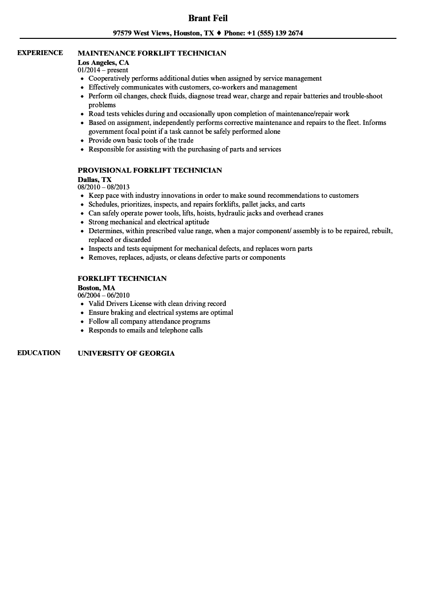 resume How To Put Forklift Certification On Resume forklift technician resume samples velvet jobs download sample as image file