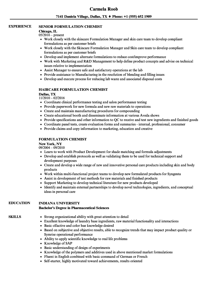Formulation Chemist Resume Samples Velvet Jobs