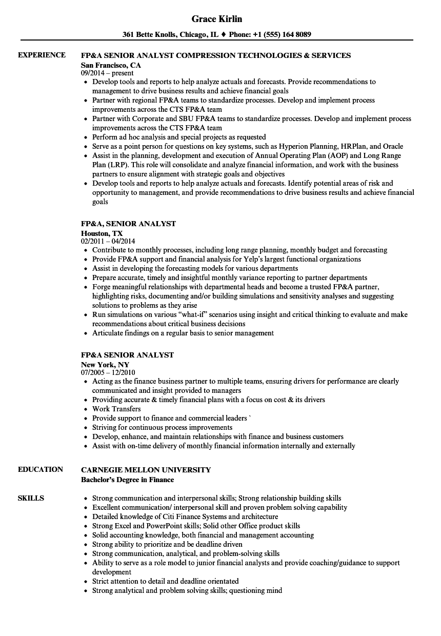 FpA Senior Analyst Resume Samples  Velvet Jobs