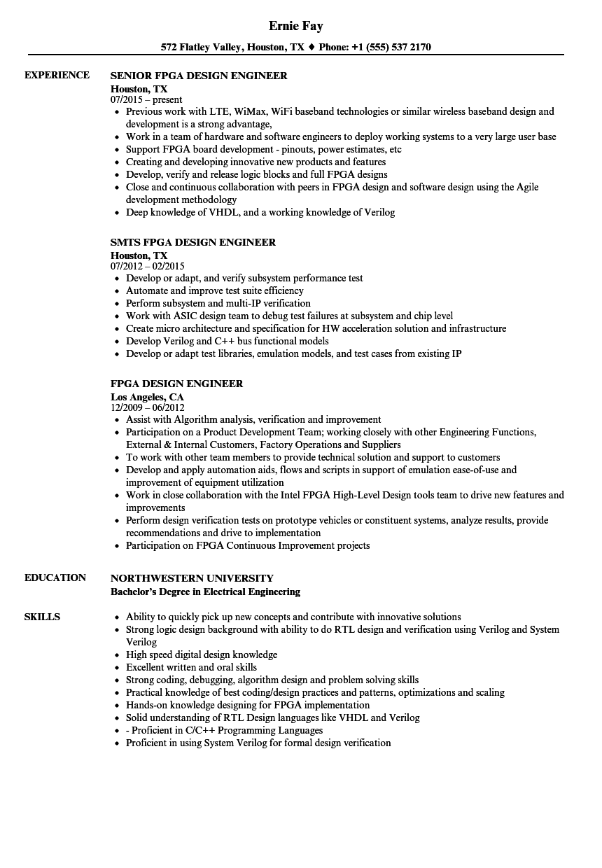 fpga design engineer resume samples velvet jobs